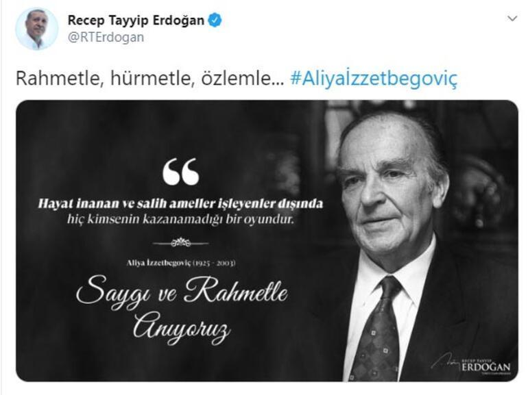 Cumhurbaşkanı Erdoğandan Aliya İzzetbegoviç paylaşımı