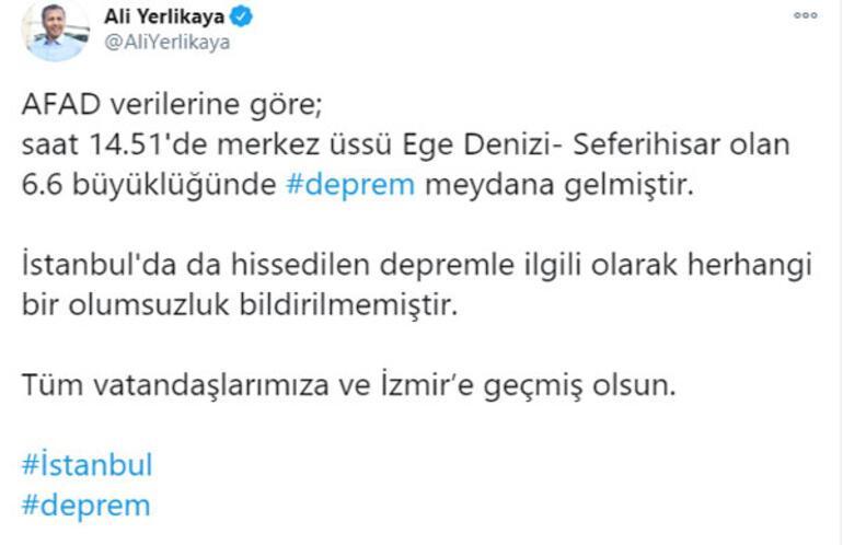 Son dakika...Depremin ardından İstanbul Valisi Yerlikayadan flaş açıklama