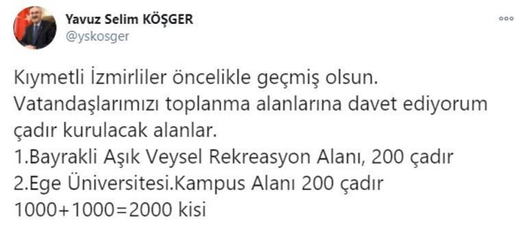 İzmirde çadır kurulacak yerler Vali Köşger açıkladı