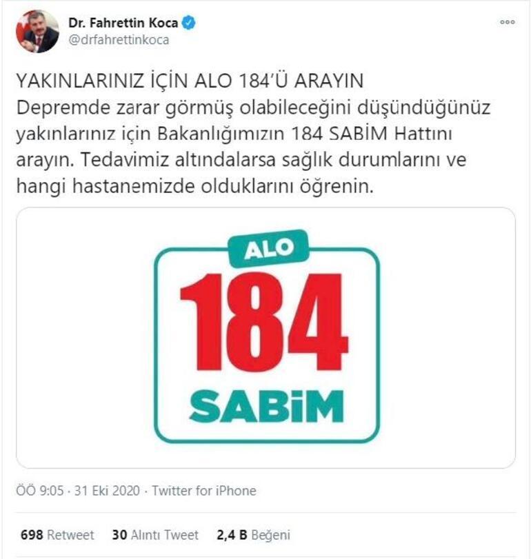 Bakan Koca: Yaralılar için 184ü arayın