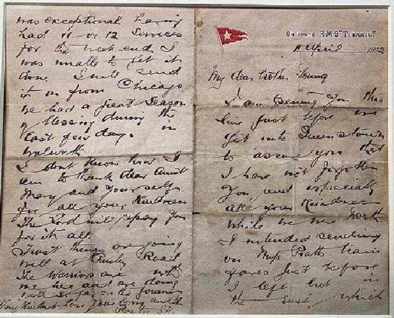 Batan Titanic gemisinde ölen papazın yazdığı mektup açık artırmada