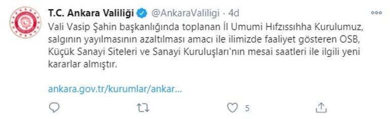 Son dakika: Ankarada flaş koronavirüs kararı  Mesai saatleri değişti