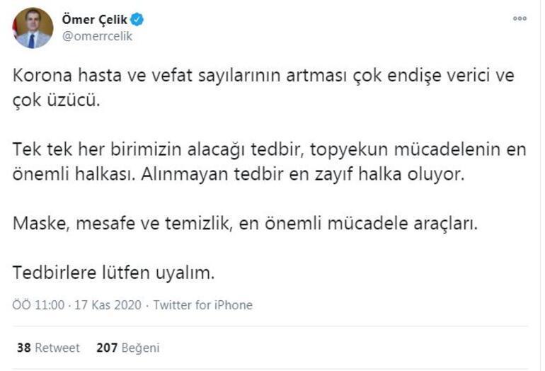 AK Partili Çelik: Koronavirüs hasta ve vefat sayılarının artması endişe verici
