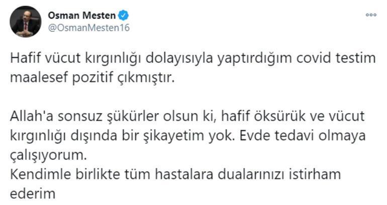 AK Parti Bursa Milletvekili Osman Mesten koronavirüse yakalandı