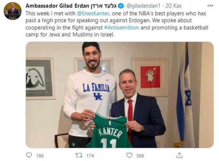 Son dakika... FETÖcü Enes Kanter ile fotoğraf çektiren İsrailin BM temsilcisine tepki yağdı