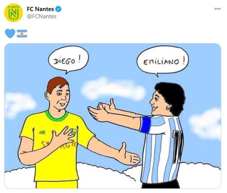 Son dakika - Fransız kulübü Nantesa Maradona karikatürü tepkisi