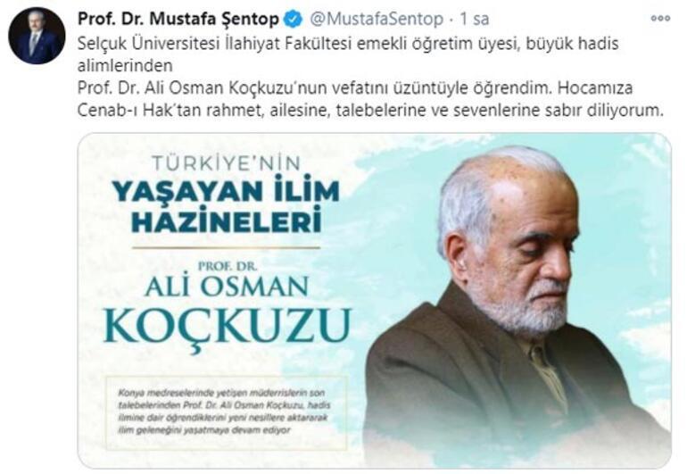TBMM Başkanı Şentoptan, Prof. Dr. Koçkuzu için taziye mesajı