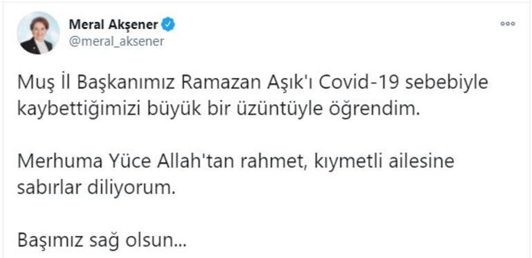 İYİ Parti Muş İl Başkanı, koronavirüsten hayatını kaybetti