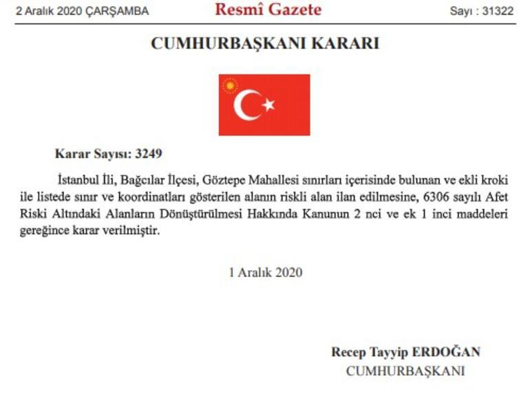 Son dakika... İstanbulda bir bölge riskli alan ilan edildi