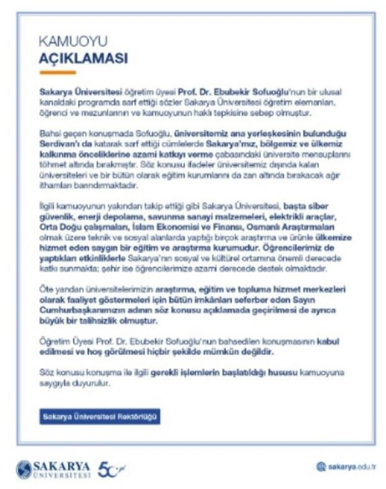 Son dakika... Prof. Dr. Ebubekir Sofuoğlu hakkında soruşturma başlatıldı