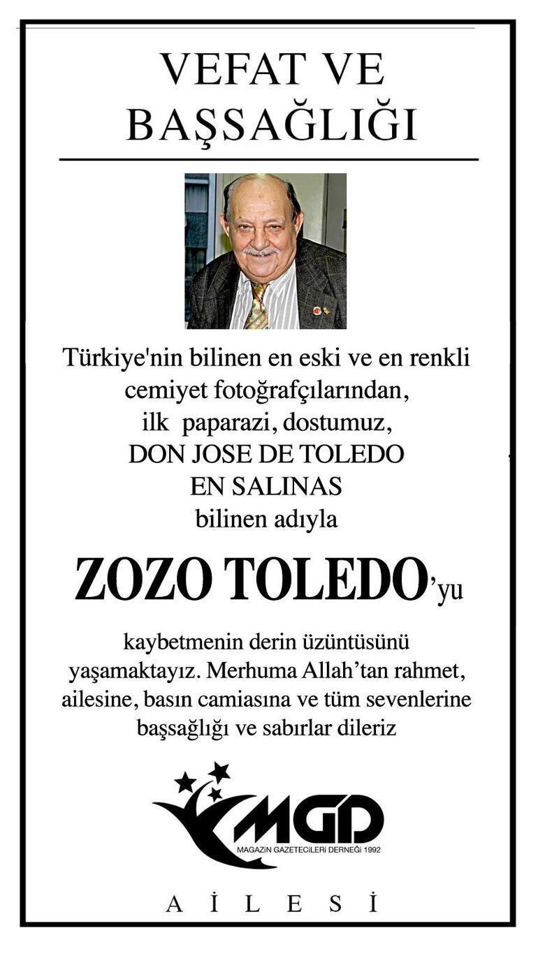 Türkiyenin ilk paparazzisi Zozo Toledo hayatını kaybetti