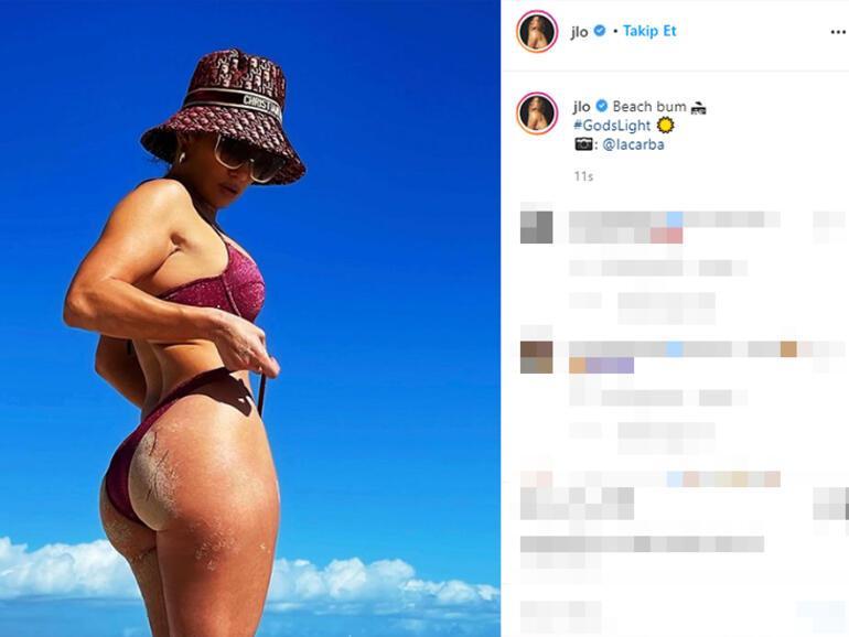 Jennifer Lopezin plaj pozuna beğeni yağdı
