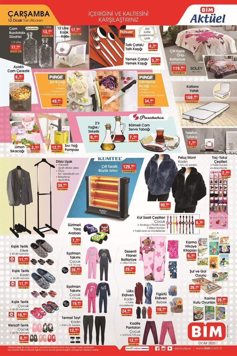 13 Ocak Çarşamba BİM aktüel ürünleri neler BİM Çarşamba günü indirimleri, kampanyaları