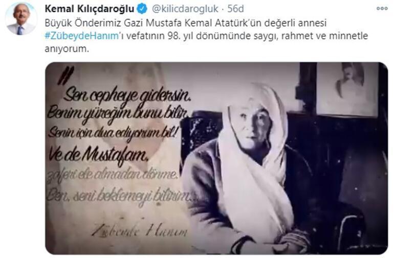 Kılıçdaroğlu, Atatürkün annesi Zübeyde Hanımı andı