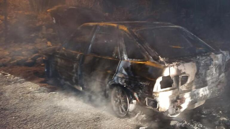 Hırsızlar otomobili önce çaldılar sonra yaktılar