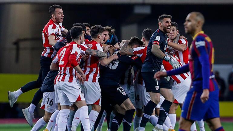 Barcelonada Messi ilk kez kırmızı kart gördü Kupa Athletic Bilbaonun...