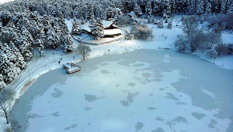 Gölcük Tabiat Parkında göl buz tuttu