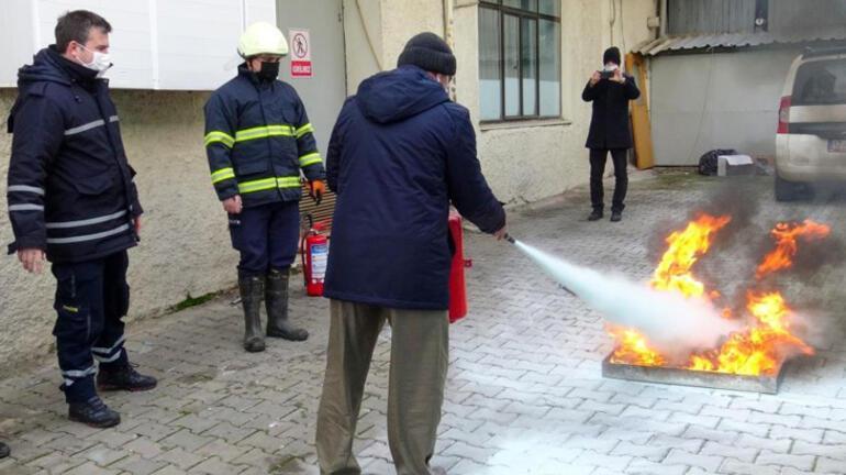 Biga itfaiyesinden yangın tatbikatı