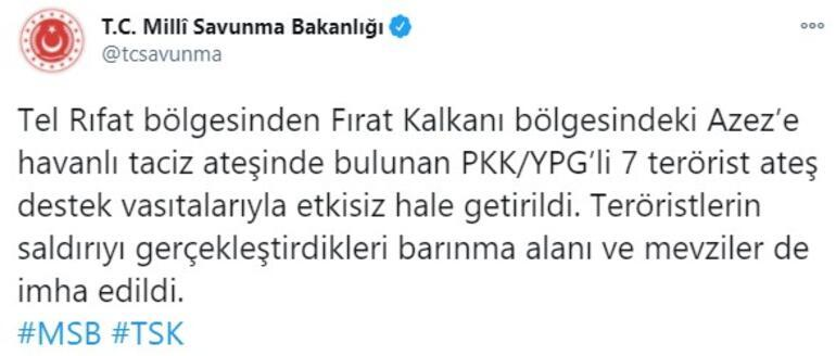 Son dakika... Azezde 7 PKKlı terörist etkisiz hale getirildi