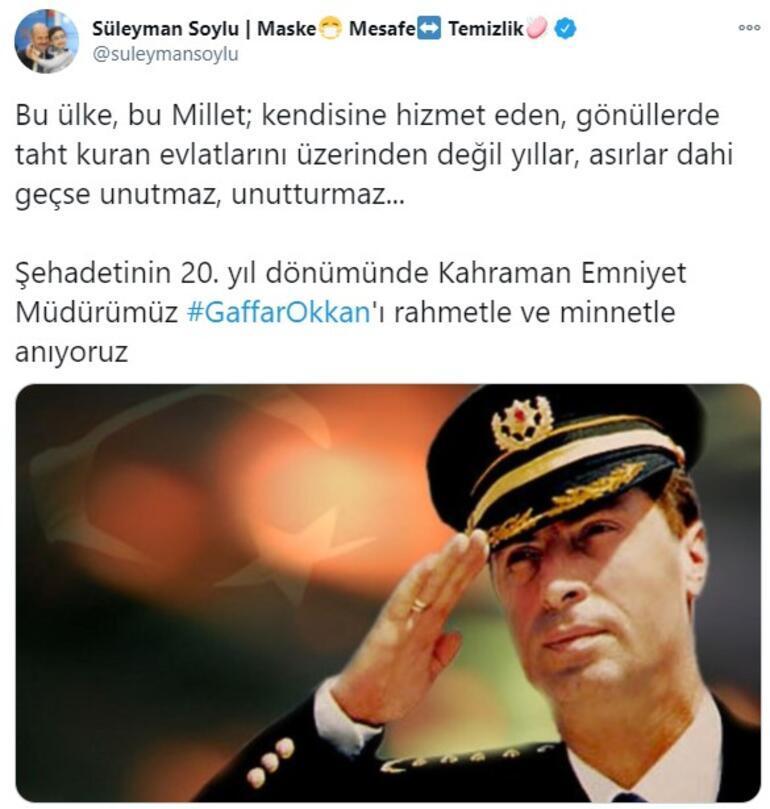 İçişleri Bakanı, şehit emniyet müdürü Gaffar Okkanı andı