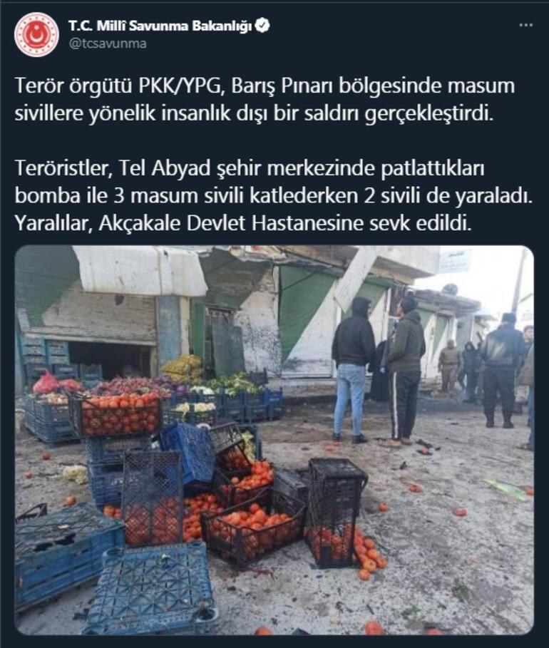 MSB: PKK/YPG, Tel Abyadda 3 masum sivili katletti