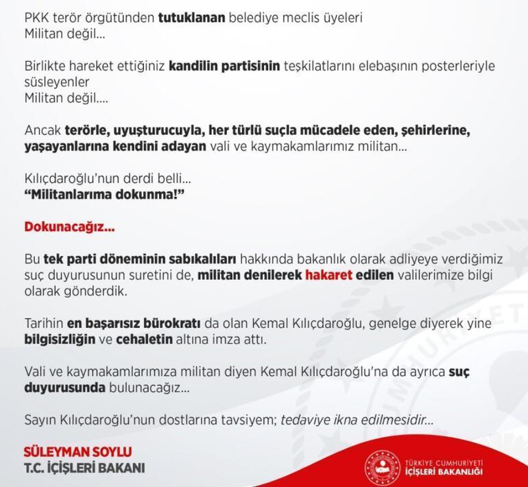 Son dakika... Bakan Soyludan Kılıçdaroğluna sert yanıt: Suç duyurusunda bulunacağız