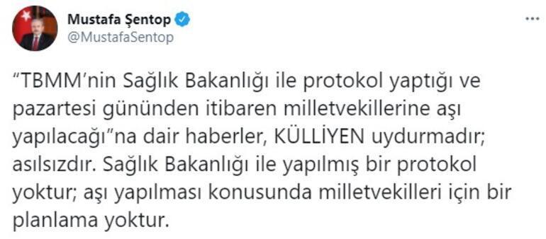 Son dakika... TBMM Başkanı Şentoptan milletvekillerine aşı iddialarına yalanlama