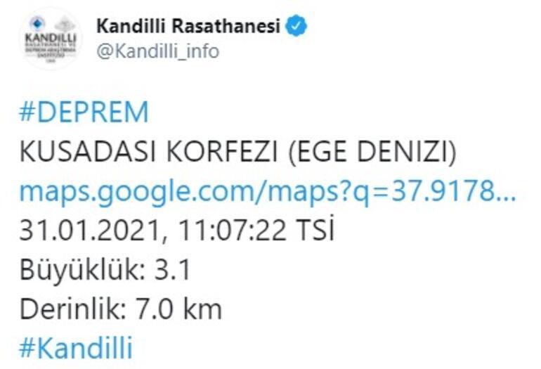 Son dakika... Kuşadası açıklarında deprem Kandilli Rasathanesi verileri paylaştı