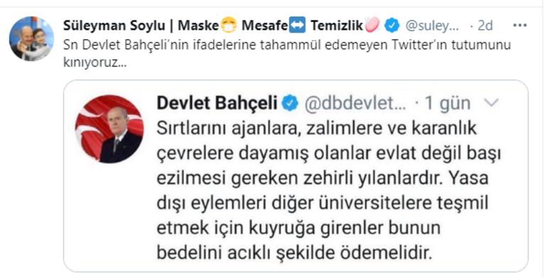 Bakan Soyludan Twittera tepki: Emperyalizmin bu oyuncağı, insanlığı teslim alamaz