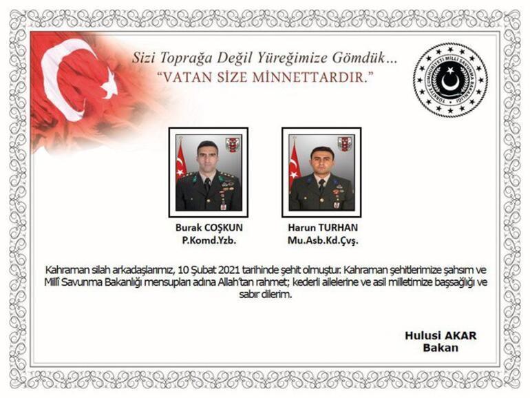 MSB acı haberi duyurdu: 2 asker şehit oldu, 4 asker yaralı