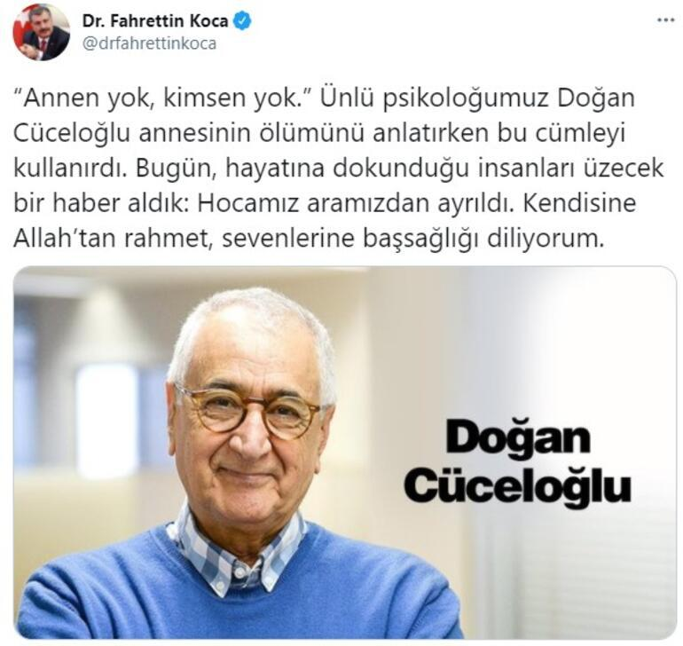 Son dakika... Sağlık Bakanı Fahrettin Kocadan Doğan Cüceloğlu paylaşımı