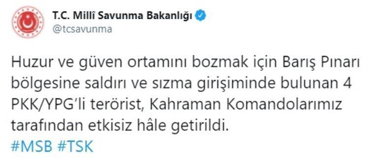 Son dakika... Barış Pınarı bölgesinde 4 PKKlı etkisiz hale getirildi