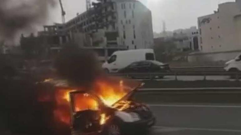 Son dakika... Avcılarda korku dolu anlar Trafikte bir araç yanarak kaydı