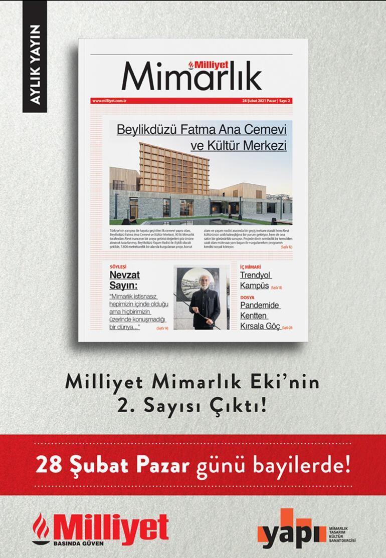 Milliyet Mimarlık ekinin 2. sayısı Pazar günü Milliyet Gazetesi ile birlikte bayilerde