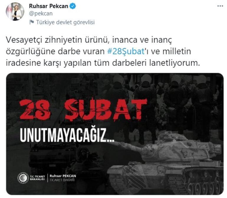 Bakan Pekcan: 28 Şubatı ve milletin iradesine karşı yapılan tüm darbeleri lanetliyorum