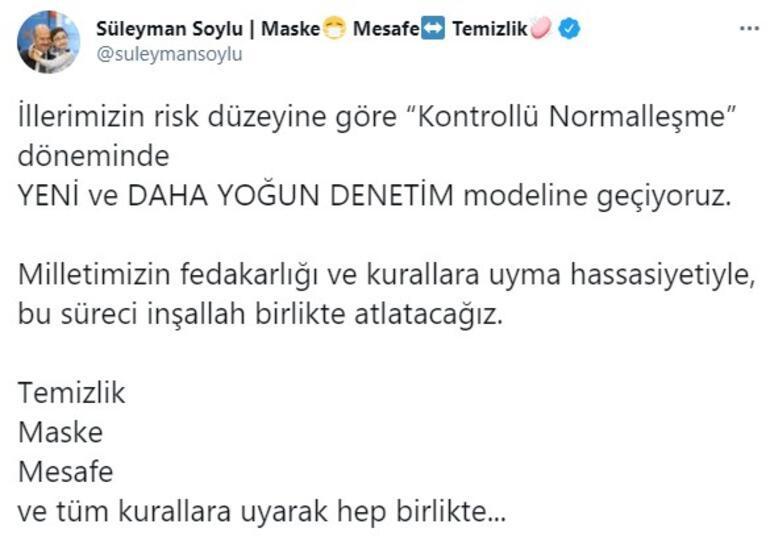 Son dakika... Bakan Soylu paylaştı Flaş kontrollü normalleşme açıklaması