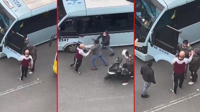Kadıköy'de minibüsçü dehşeti Kuryeler araya girdi