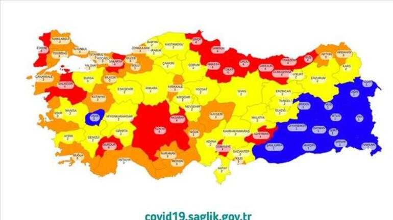 Düşük, orta, yüksek ve çok yüksek riskli iller hangileri Türkiye koronavirüs riskli iller haritası burada...