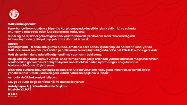 Son dakika - Antalya Başkanı Mustafa Yılmaz: Fenerbahçede yönetici arkadaşlar küfrediyor