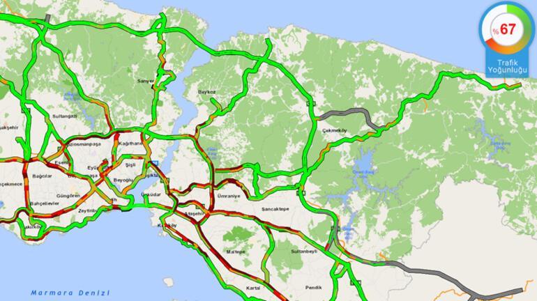 Haftanın ilk iş gününde İstanbulda trafik yoğunluğu