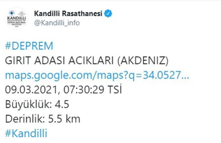 Son dakika... Akdenizde deprem Kandilliden açıklama geldi