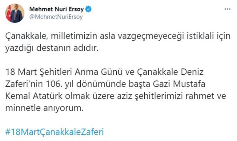 Bakan Ersoydan, 18 Mart Şehitleri Anma Günü ve Çanakkale Deniz Zaferinin 106. yıl dönümü mesajı