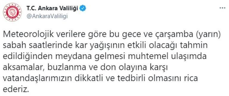 Son dakika... Ankara Valiliğinden kar uyarısı