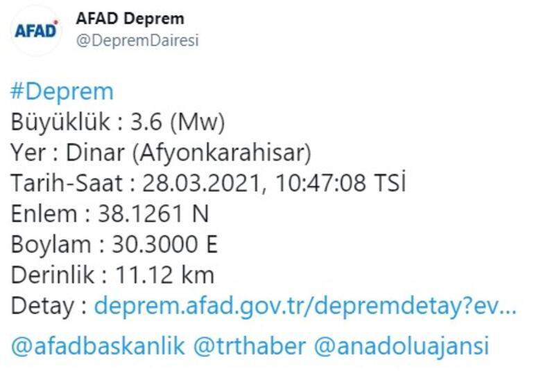 Afyonkarahisarda deprem AFAD ve Kandilliden peş peşe açıklamalar