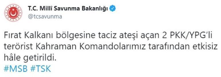 Son dakika... Fırat Kalkanı bölgesinde 2 PKKlı etkisiz hale getirildi