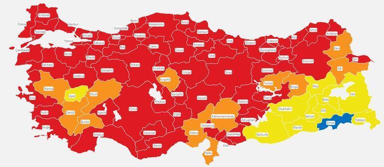 Risk haritasında tek mavi il Şırnak oldu Şırnak nüfusu ve vaka sayısı kaç