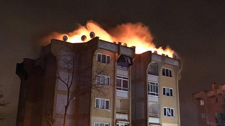 Korkutan yangın Alevler gökyüzünü aydınlattı