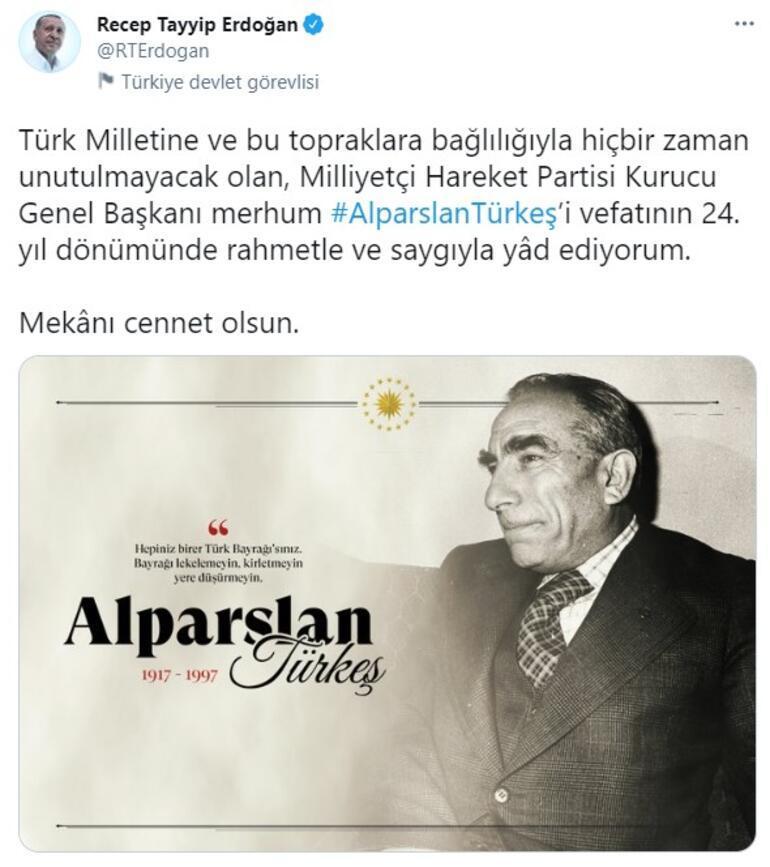 Cumhurbaşkanı Erdoğandan Alparslan Türkeş paylaşımı