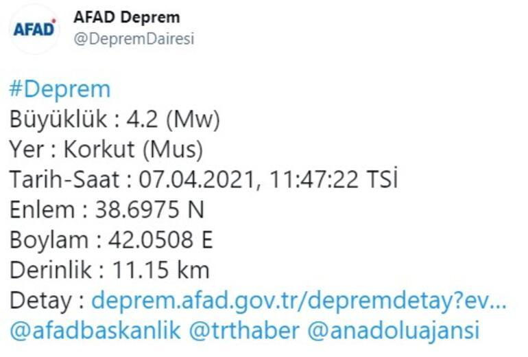 Son dakika... Bitlis ve Muşta 4.2 büyüklüğünde deprem AFAD ve Kandilliden peş peşe açıklamalar