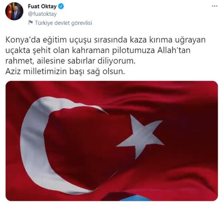 Cumhurbaşkanı Yardımcısı Oktay, Konyada düşen uçağın şehit pilotu için başsağlığı diledi